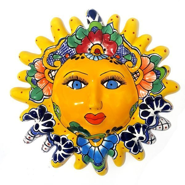 Sol de talavera decorativo para pared color amarillo