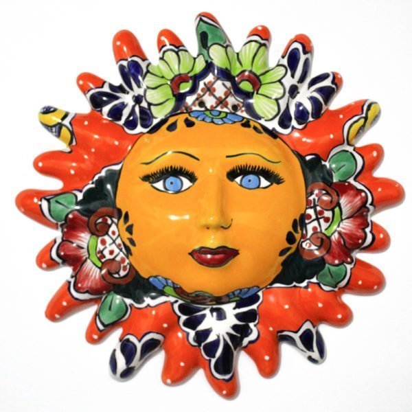 Sol de talavera decorativo para pared color naranja
