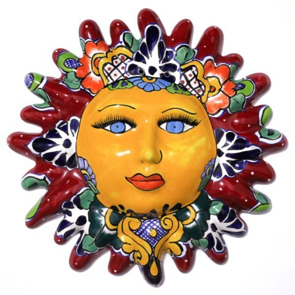 Sol de talavera decorativo para pared color rojo